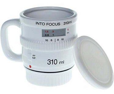 white camera lens mug lid