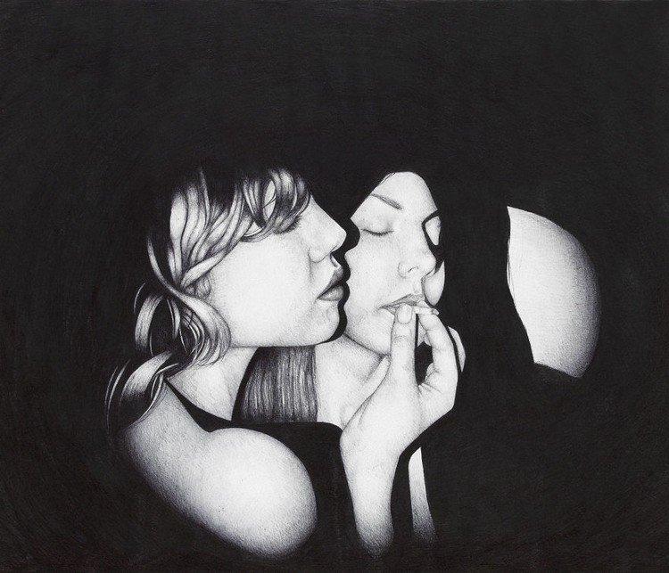 women smoking ballpoint portrait