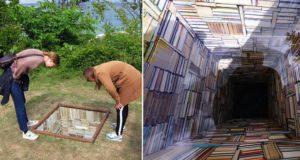 Art Installation Looks Like Bottomless Library