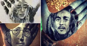 Artist Paints Portraits Of Famous Faces On His Hand Then Stamps On Paper