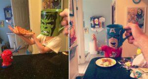 Dad Turns Kids Into Superheroes With Coffee Mugs