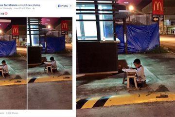 Homeless Boy Doing Homework Outside Mcdonalds