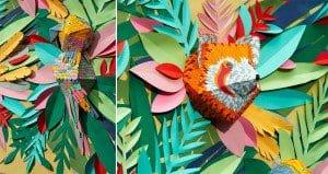 Mlle Hipolyte Paper Scraps Animal Mural