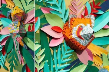 Mlle Hipolyte Paper Scraps Animal Mural