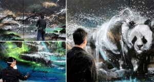 Panda Mural Splatter Ink Street Art
