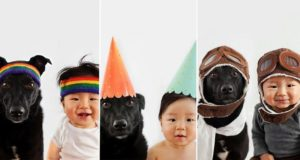 Photographer Takes Matching Photos Of Her Baby And Dog