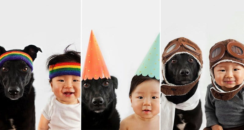 Photographer Takes Awesomely Cute Matching Photos Of Her Baby And - Cute portraits baby and rescue dog