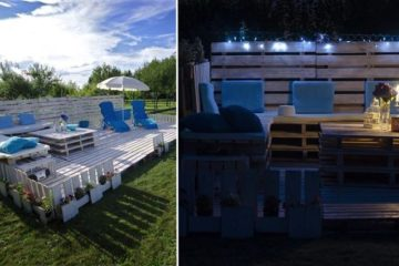 Poolside Patio Using Wooden Pallets