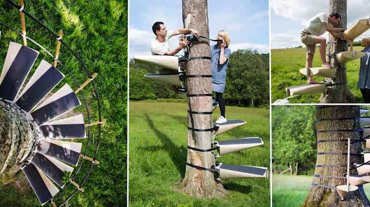 Spiral Staircases Can Strap On To Any Tree