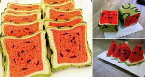 Square Watermelon Bread
