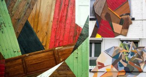 Street Art Mural Made With Recyled Wood