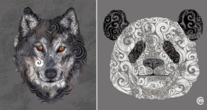 Swirly Animal Illustrations