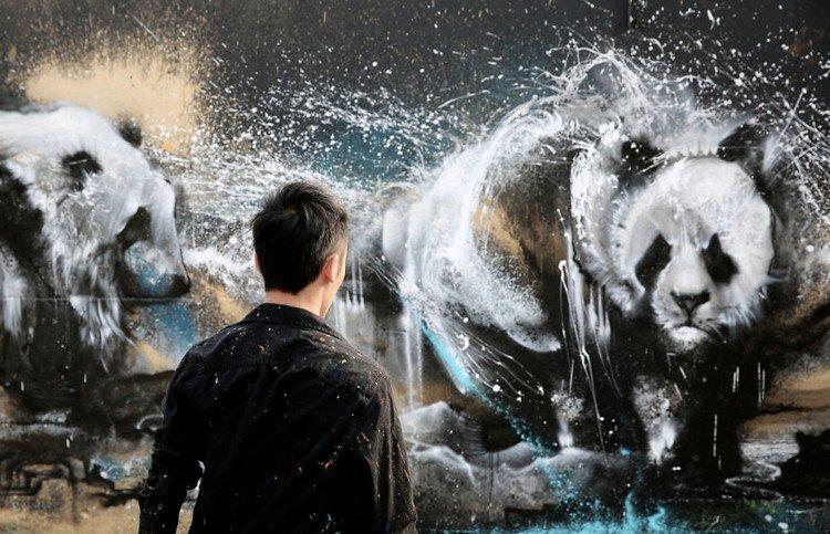 artist viewing splatter painting