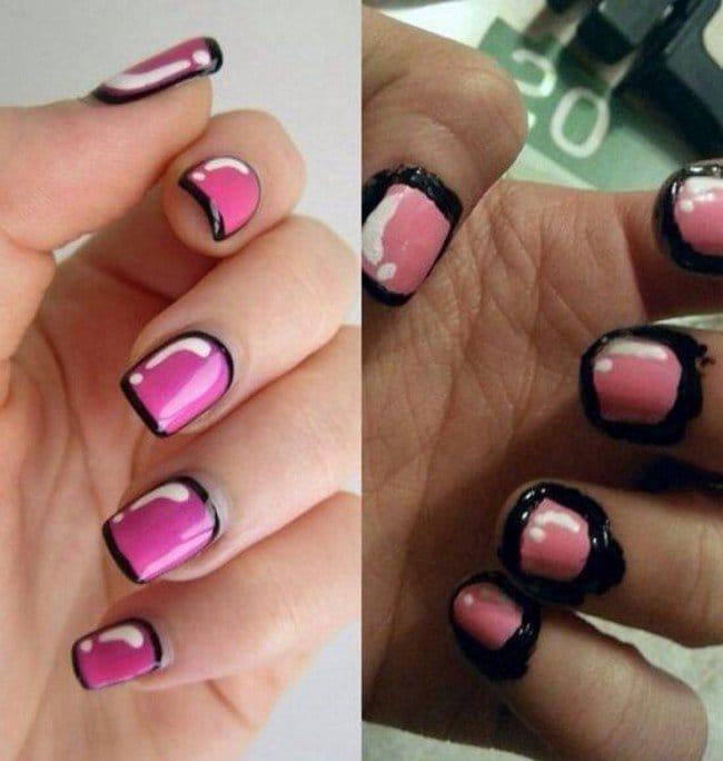 black pink nail fail