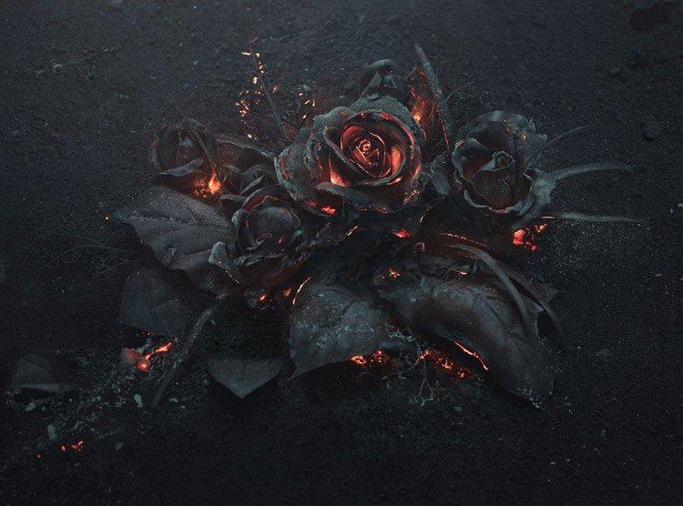 black roses burning sculpture