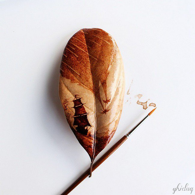 coffee boat leaf painting