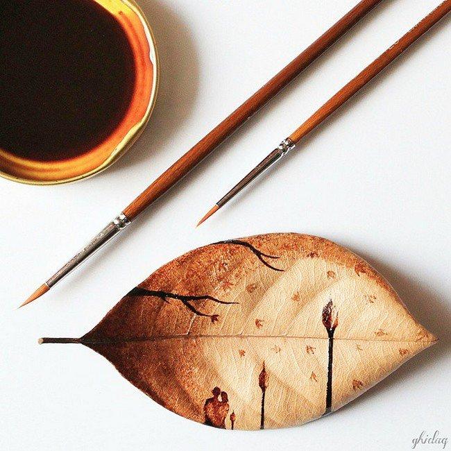 coffee brush leaf painting