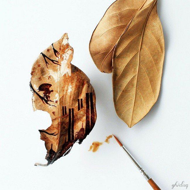 coffee leaves painting