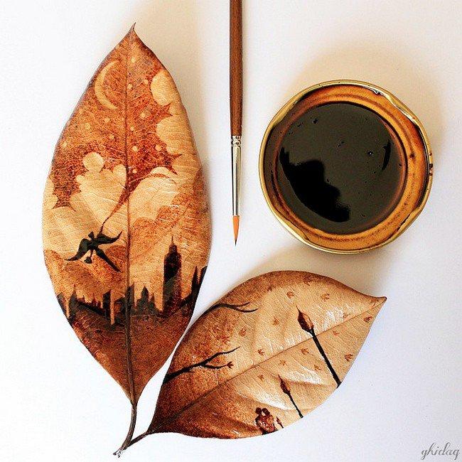 coffee painting leaves