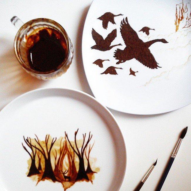coffee plate paintings