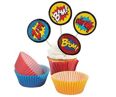 comic book cupcake toppers cake
