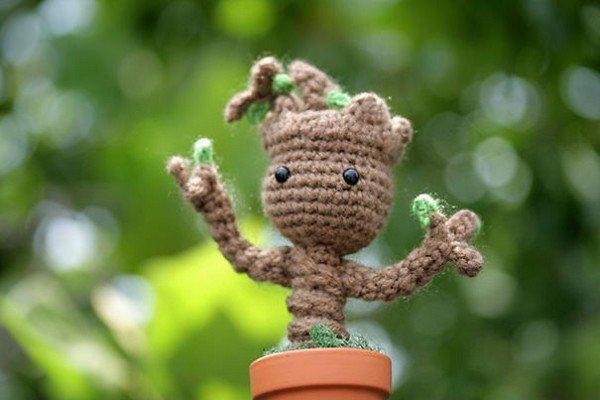 crochet brown figure