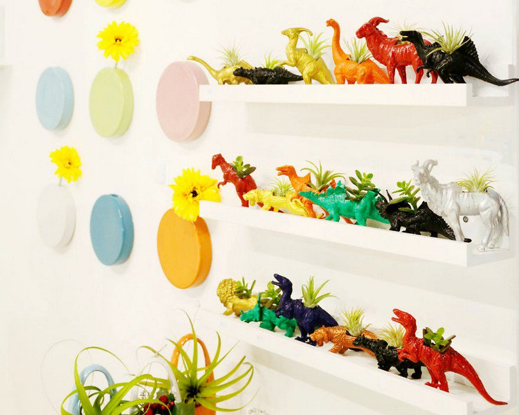 dinosaur plant holders