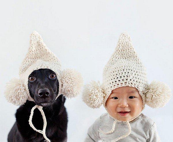 dog baby pom pom hats