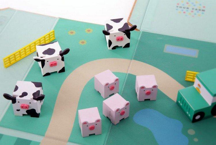 farm toy animals grazing