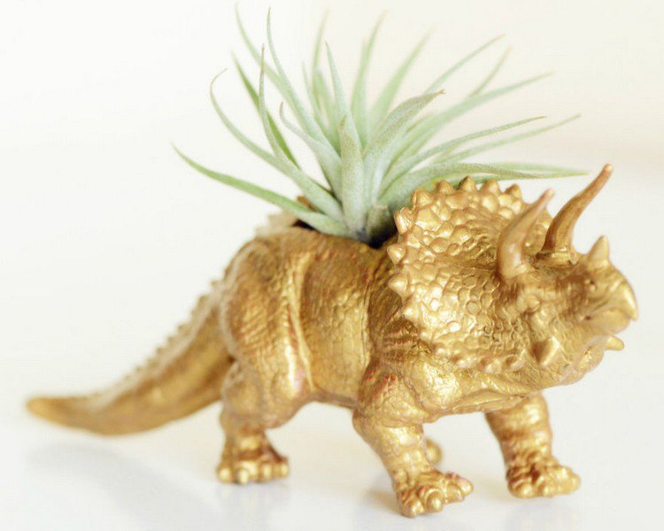gold dinosaur planter