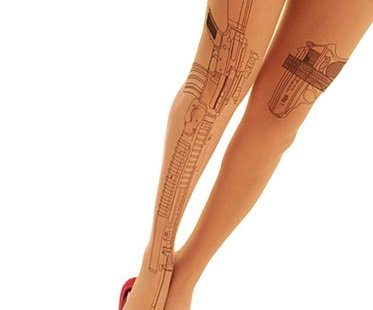 gun tattoo tights natural colour