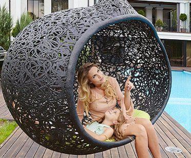 hanging cocoon chair outside