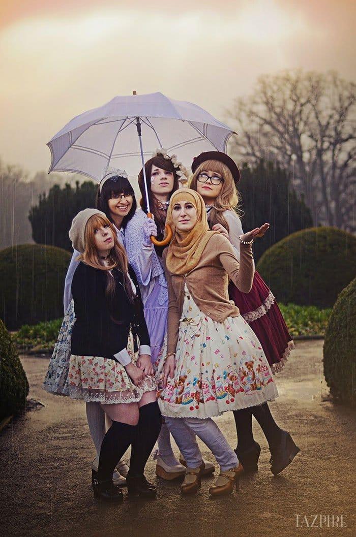 lolita girls umbrella rain