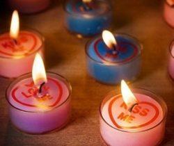 love hearts tea light candles