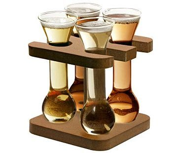 mini yards of ale shot glasses with stand