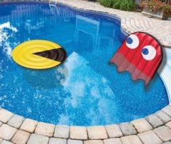 pac-man and ghost pool floats