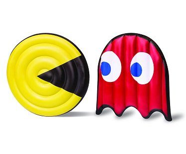 pac-man and ghost pool floats red yellow