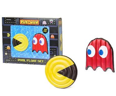pac-man and ghost pool floats red yellow box