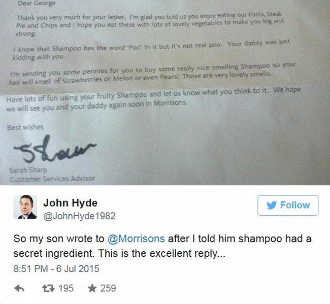 shampoo tweet morrisons letter