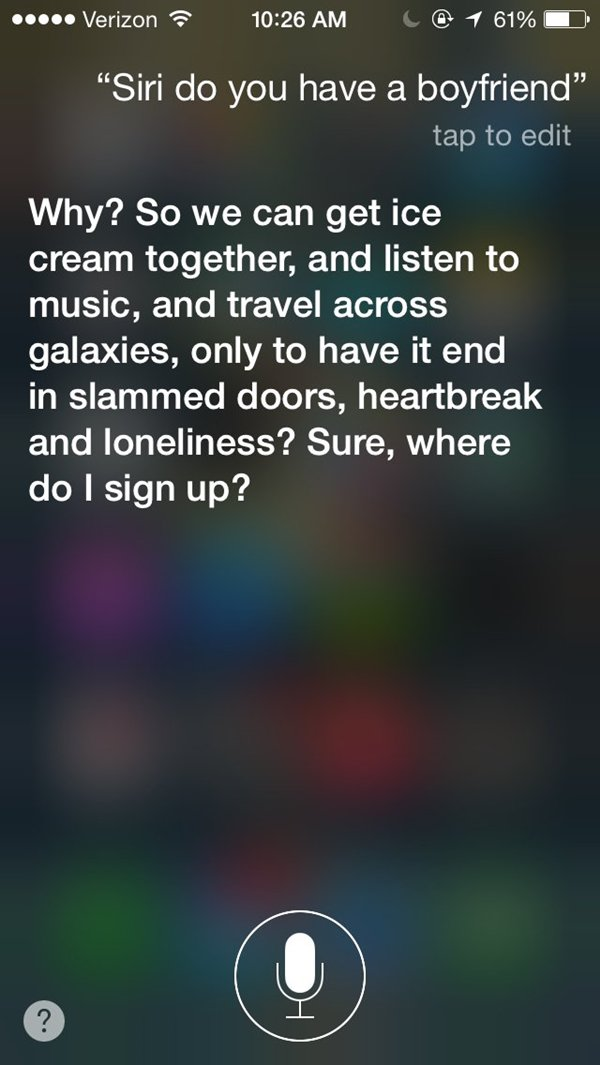 siri snarky answers boyfriend