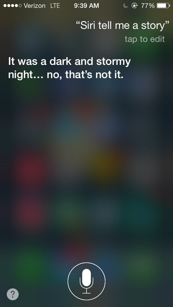 siri snarky answers dark and stormy