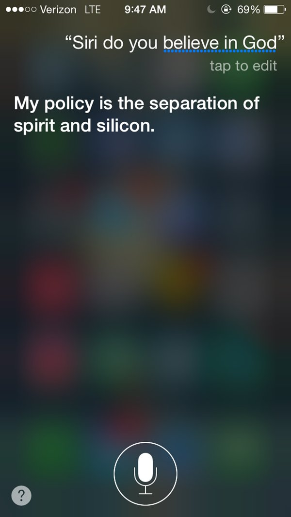 siri snarky answers god