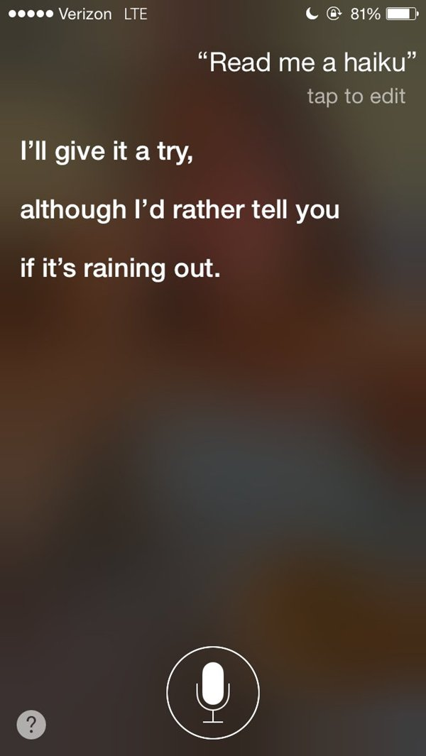 siri snarky answers haiku