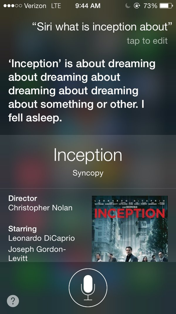 siri snarky answers inception