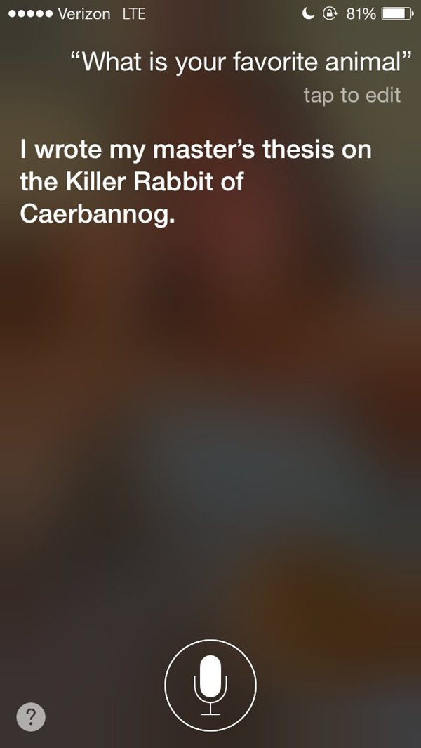 siri snarky answers killer rabbit