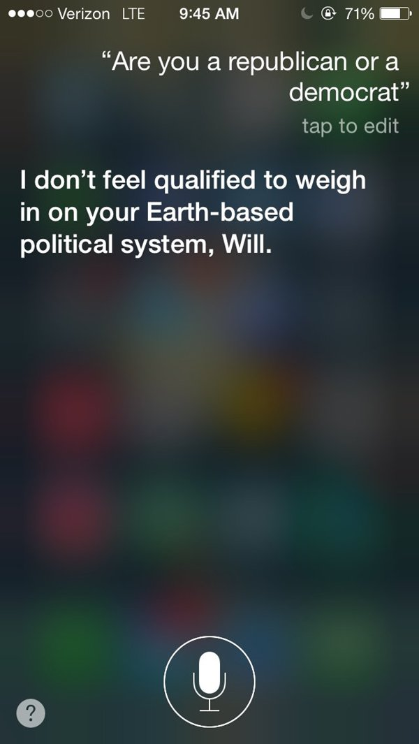 siri snarky answers politics