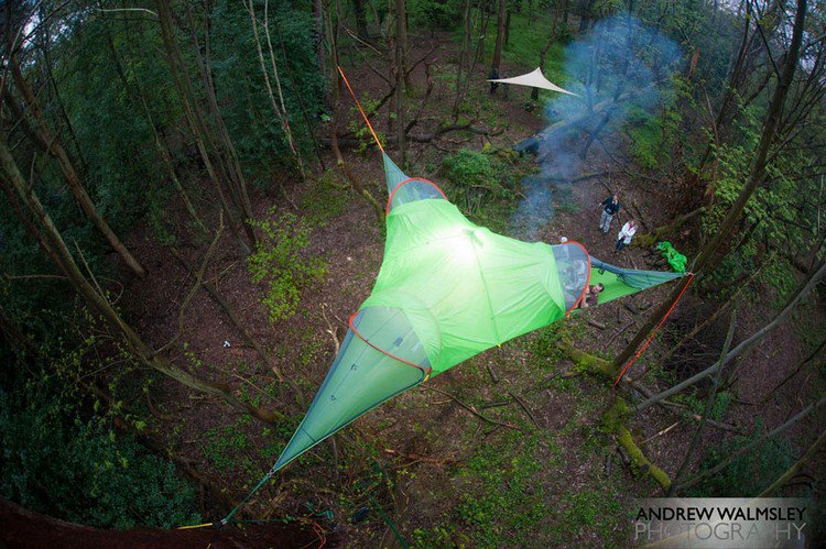 suspended tents forest