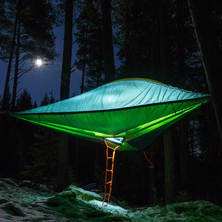 suspended tents night