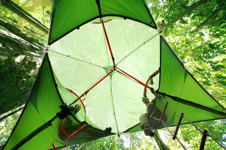 suspended tents people