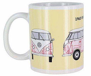 vw campervan heat changing mug yellow